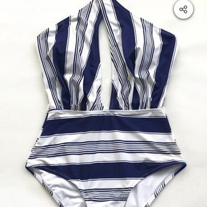 Cupshe  Navy And White Wrap One-Piece Swimsuit - S